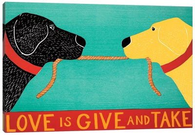Love Is Give And Take, Black Yellow Canvas Art Print