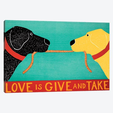 Love Is Give And Take, Black Yellow Canvas Print #STH189} by Stephen Huneck Canvas Art
