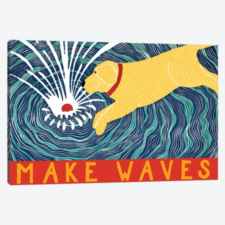Make Waves, Yellow With Banner Canvas Print #STH192} by Stephen Huneck Art Print