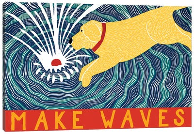 Make Waves, Yellow With Banner Canvas Art Print