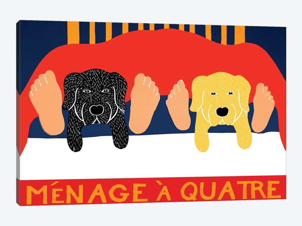 Menage A Quatre, Black Yellow by Stephen Huneck 1-piece Canvas Artwork