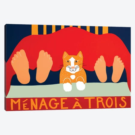 Menage A Trois, Cat Canvas Print #STH196} by Stephen Huneck Canvas Art