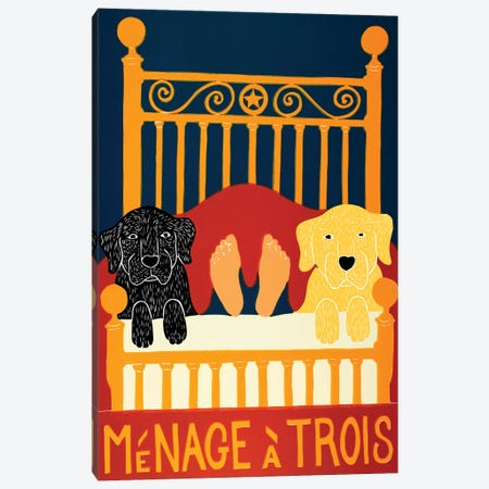 Menage A Trois, Black Yellow Canvas Print #STH197} by Stephen Huneck Canvas Art