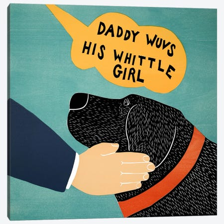 Daddy Wuvs his Wittle Girl Canvas Print #STH19} by Stephen Huneck Canvas Artwork