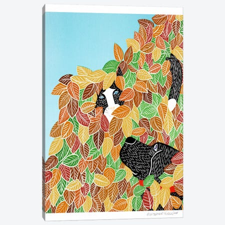 Dog and Cat Autumn Canvas Print #STH20} by Stephen Huneck Art Print