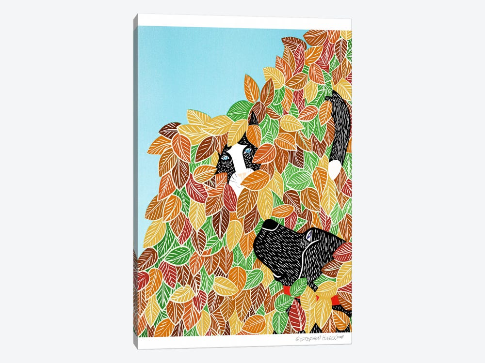 Dog and Cat Autumn by Stephen Huneck 1-piece Canvas Art Print