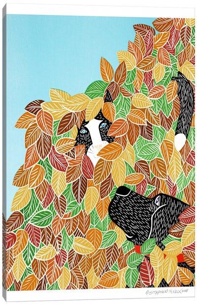 Dog and Cat Autumn Canvas Art Print