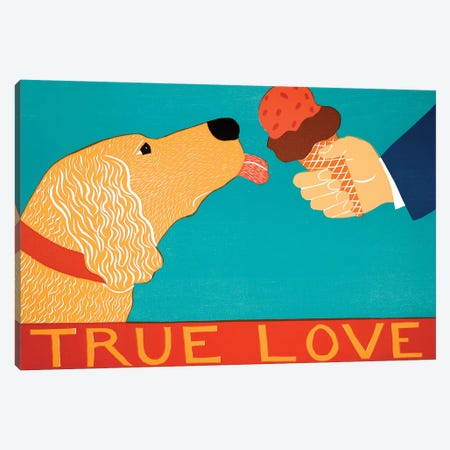 True Love, Light Golden Canvas Print #STH223} by Stephen Huneck Art Print