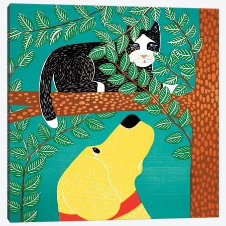 Up A Tree, Black Cat, Yellow Dog Canvas Print #STH226} by Stephen Huneck Canvas Art