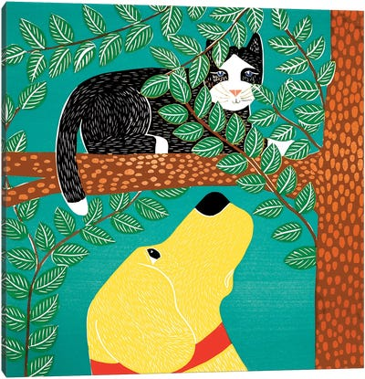 Up A Tree, Black Cat, Yellow Dog Canvas Art Print