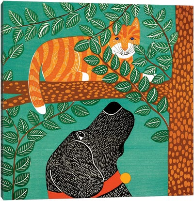 Up A Tree, Striped Cat, Black Dog Canvas Art Print