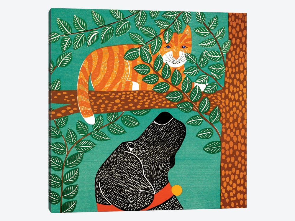 Up A Tree, Striped Cat, Black Dog by Stephen Huneck 1-piece Canvas Wall Art