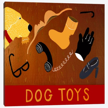 Dog Toys - Yellow Canvas Print #STH22} by Stephen Huneck Art Print