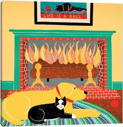 What A Ball, Yellow, Black Cat Canvas Art Print
