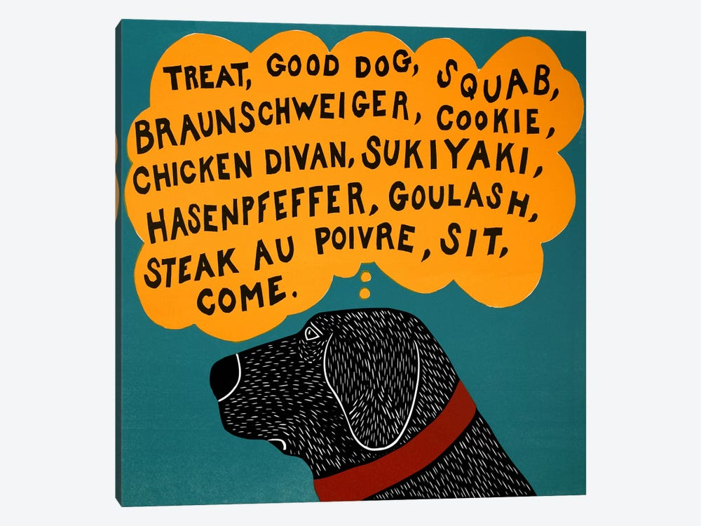 Dogs can only learn a few words Black by Stephen Huneck 1-piece Canvas Wall Art
