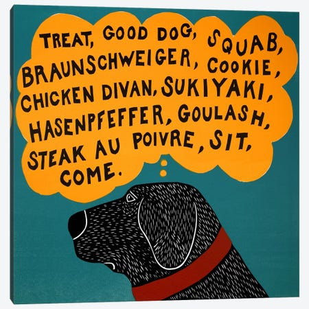 Dogs can only learn a few words Black Canvas Print #STH25} by Stephen Huneck Canvas Wall Art