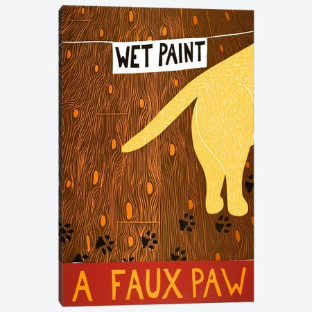 A Faux Paw Yellow Canvas Print #STH2} by Stephen Huneck Canvas Wall Art