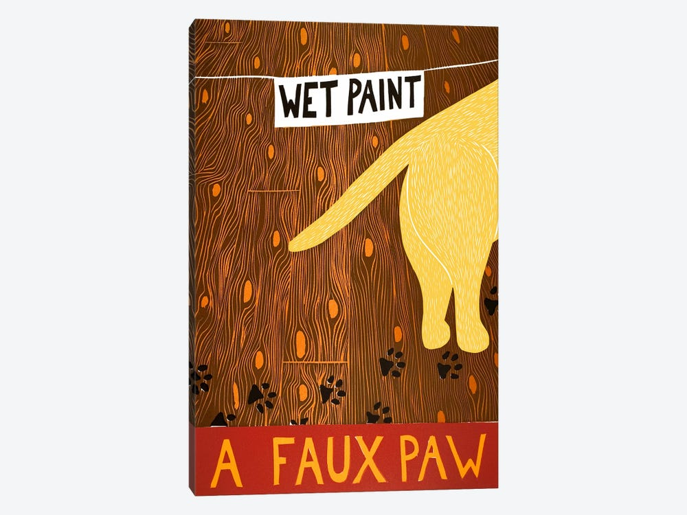 A Faux Paw Yellow by Stephen Huneck 1-piece Canvas Art Print