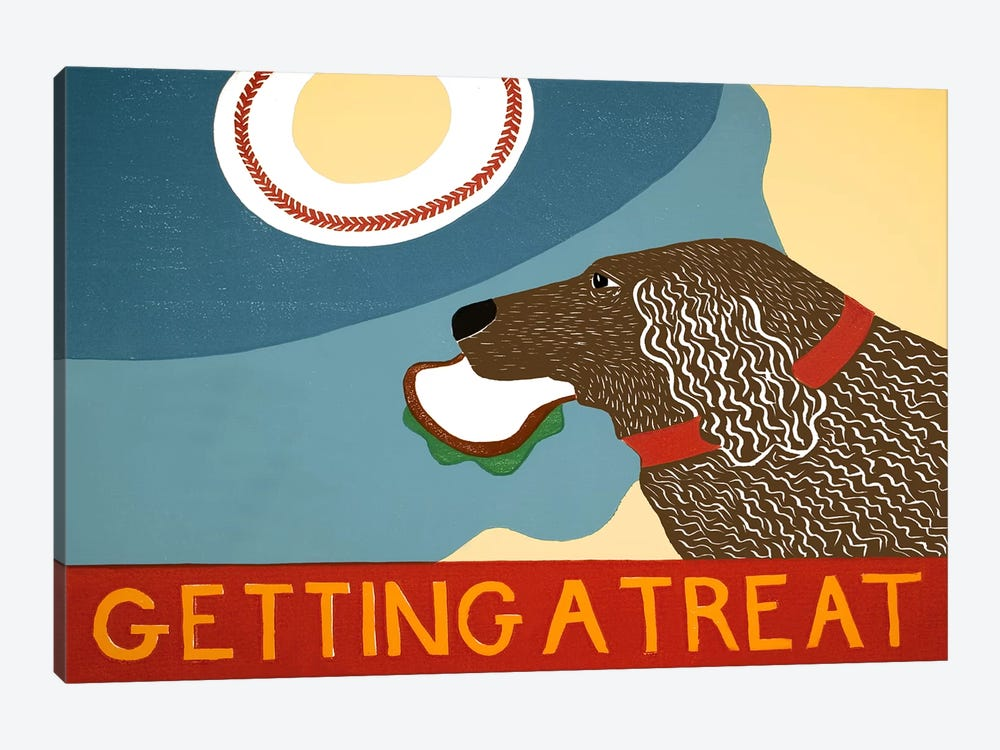 Getting a treat sand choc dog by Stephen Huneck 1-piece Canvas Art Print