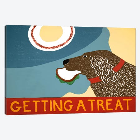 Getting a treat sand choc dog Canvas Print #STH37} by Stephen Huneck Canvas Art Print