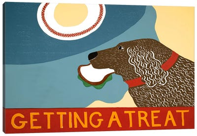 Getting a treat sand choc dog Canvas Art Print