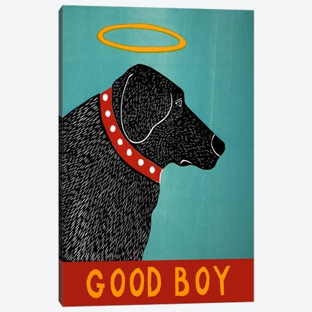 Good Boy Black Canvas Print #STH40} by Stephen Huneck Canvas Print