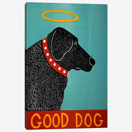 Good Dog Black Canvas Print #STH41} by Stephen Huneck Canvas Art Print