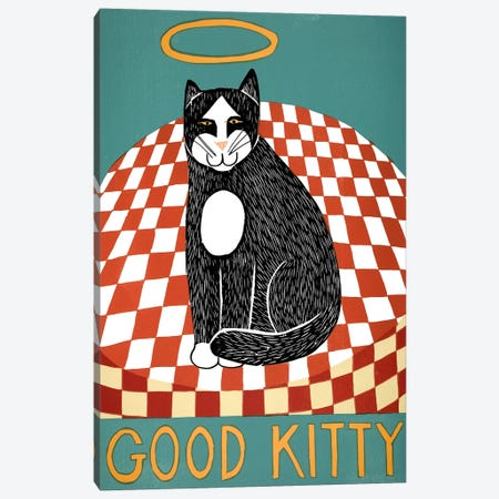 Good Kitty 3-Piece Canvas #STH43} by Stephen Huneck Canvas Art Print