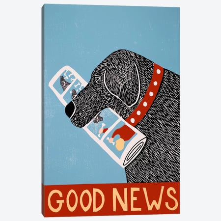 Good News Dog Black Canvas Print #STH44} by Stephen Huneck Canvas Artwork
