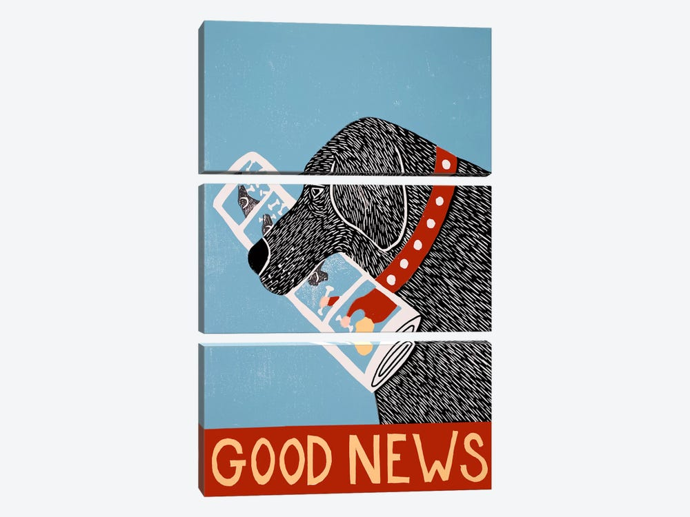 Good News Dog Black by Stephen Huneck 3-piece Canvas Print