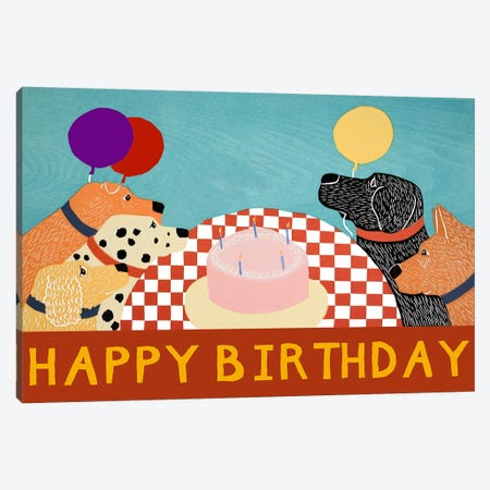 Happy Birthday Large Canvas Print #STH46} by Stephen Huneck Canvas Art