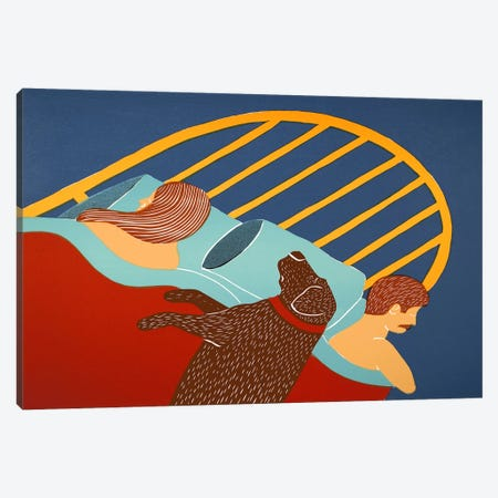 Hogging The Bed Choc Canvas Print #STH47} by Stephen Huneck Canvas Artwork