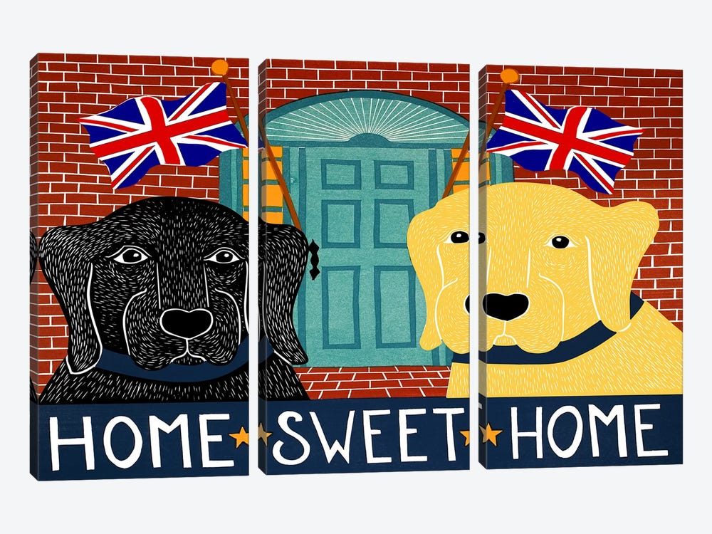 Home Sweet Home Brit Black by Stephen Huneck 3-piece Art Print