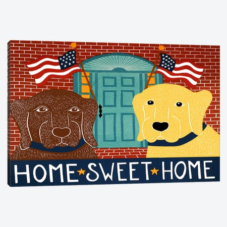 Home Sweet Home Choc Yellow Canvas Print #STH49} by Stephen Huneck Canvas Print