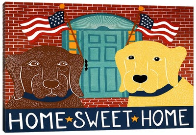 Home Sweet Home Choc Yellow Canvas Art Print