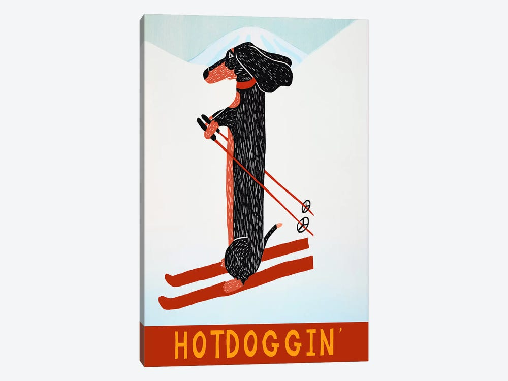 Hotdoggin by Stephen Huneck 1-piece Canvas Artwork