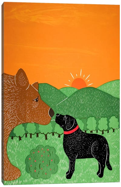 I Meet A Bear Black Canvas Art Print
