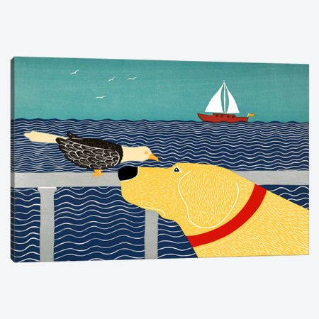I See A Bird Yellow Canvas Print #STH54} by Stephen Huneck Canvas Print