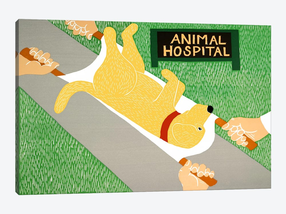 Animal Hospital Yellow by Stephen Huneck 1-piece Canvas Art