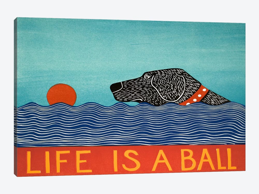 Life Is A Ball Black by Stephen Huneck 1-piece Canvas Art Print