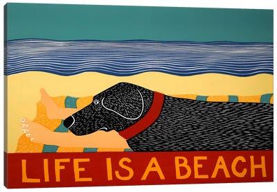 Life Is A Beach Black Canvas Print #STH63