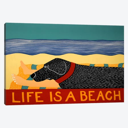 Life Is A Beach Black Canvas Print #STH63} by Stephen Huneck Canvas Print