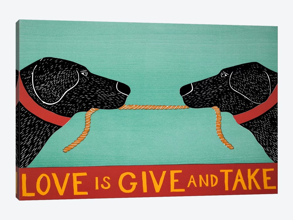 Love Is Blacks by Stephen Huneck 1-piece Canvas Print