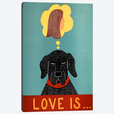 Love Is Dog Girl Black Canvas Print #STH69} by Stephen Huneck Art Print