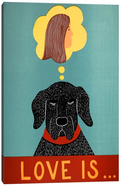 Love Is Dog Girl Black Canvas Print #STH69