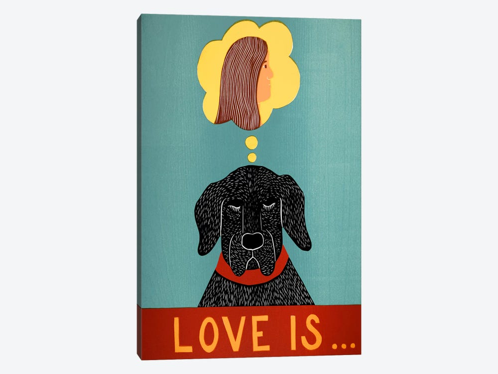 Love Is Dog Girl Black by Stephen Huneck 1-piece Canvas Wall Art
