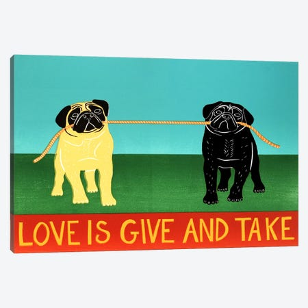 Love Is Give And Take Black Canvas Print #STH71} by Stephen Huneck Canvas Art