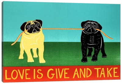 Love Is Give And Take Black Canvas Art Print