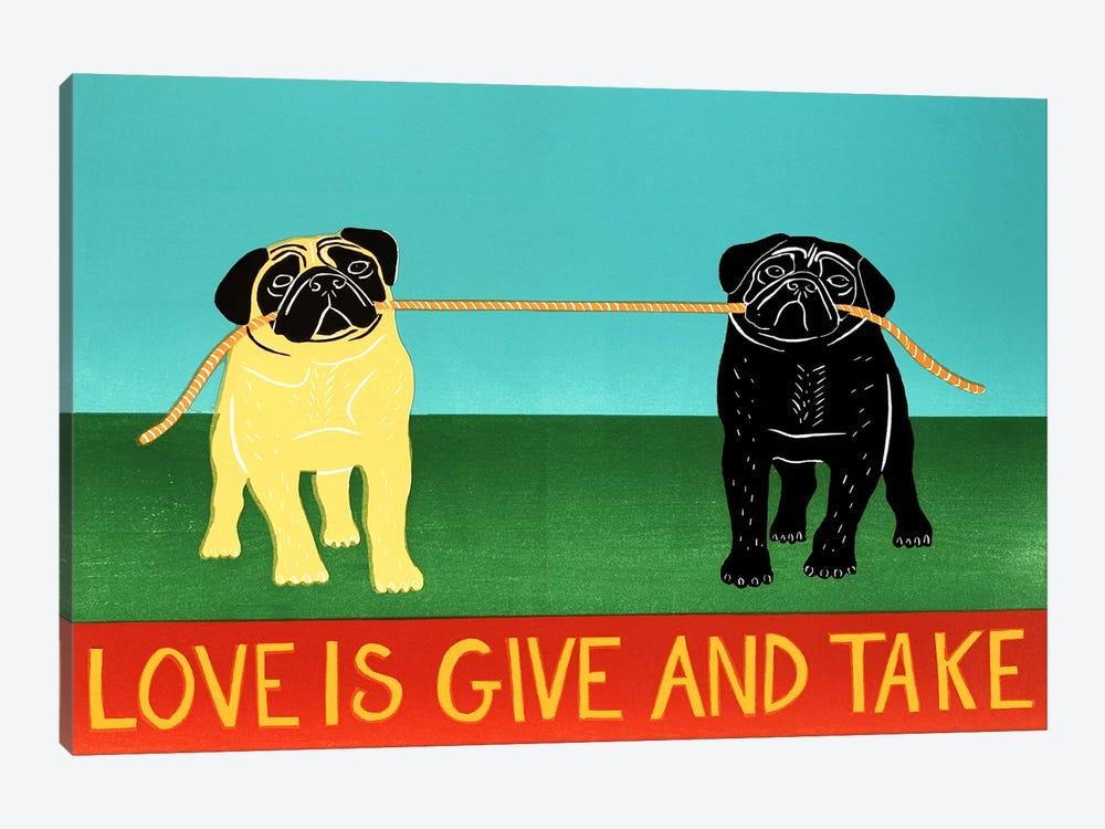Love Is Give And Take Black by Stephen Huneck 1-piece Canvas Art Print
