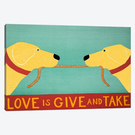 Love Is Yellow Yellow Canvas Print #STH72} by Stephen Huneck Canvas Wall Art
